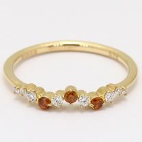 Astra orange and white diamond stackable ring