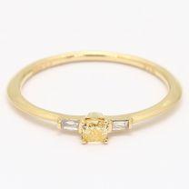 Aelia cushion cut orange and white diamond stackable ring