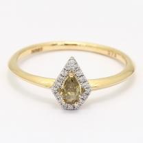 Asgard pear cut green and white diamond halo ring