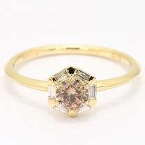 Aroma champagne and white diamond hexagonal halo ring