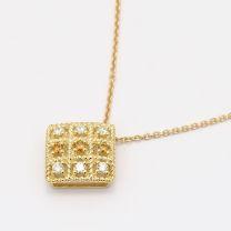 Xanthi orange and white diamond square necklace