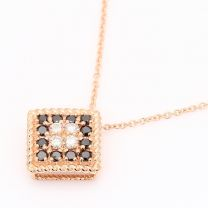 Kazimir black and white diamond square necklace