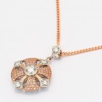 Antoinette Argyle Pink and White Diamond Large Cross Pendant