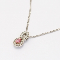 Mirabelle Pink Pear Cut and White Diamond Necklace