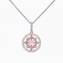 Isobella Argyle pink and white diamond flower pendant