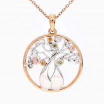 Tree of life Argyle pink and rainbow coloured diamond boab pendant