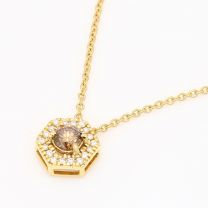 Apiary champagne and white diamond hexagonal halo necklace