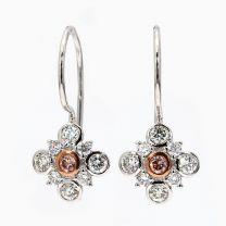 Tapioca White and Argyle Pink Diamond Hook Earrings