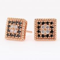 Kazimir black and white diamond square stud earrings