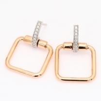 Mayari white diamond geometric dangle stud earrings