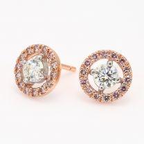 Saffron Argyle Pink and White Diamond Halo Earrings