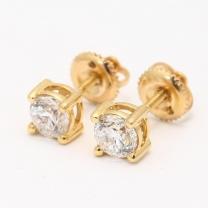1.00 Carat White Diamond Stud Earrings