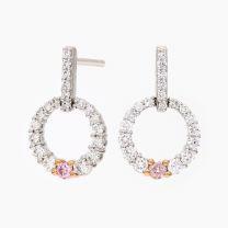 Celeste Argyle Pink and White Diamond Circle Earrings