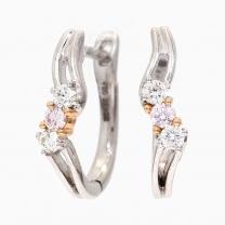 Tiana Argyle Pink and White Diamond Huggie Earrings
