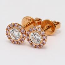 Jacinta Argyle Pink and White Diamond Halo Earrings