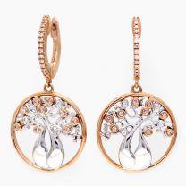 Tree of Life Argyle Pink  White Diamond Boab Earrings