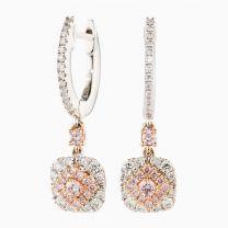 Mia White and Argyle Pink Diamond Huggie Earrings