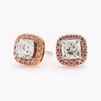 Lyanna Argyle Pink and White Diamond Halo Stud Earrings