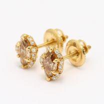 Caroline Marquise Cut Champagne and White Diamond Halo Stud  Earrings