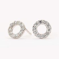 Flight white diamond circle stud earrings