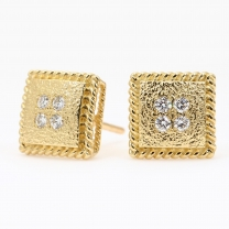 Tenille white diamond square stud earrings