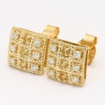 Xanthi orange and white diamond square stud earrings