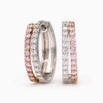 Vienne Argyle Pink and White Diamond Huggie Earrings