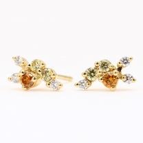 Strelitzia coloured diamond cluster stud earrings