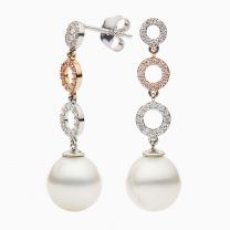 Bonita White South Sea Pearl with Argyle Pink and White Diamond Earrings