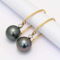 Lux Black South Sea Pearl and Diamond Earrings