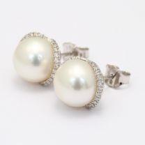 Anika White South Sea Pearl And White Diamond Stud Earrings