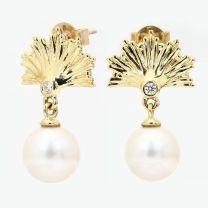 Nautica white South Sea Pearl and white diamond stud earrings