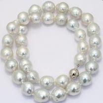 Polar 11mm baroque white South Sea pearl strand necklace