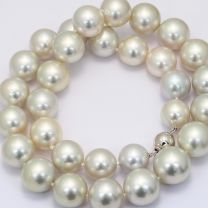 Meredith 12-15mm round white South Sea pearl strand necklace