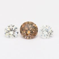 1.16 Total Carat Trio of White and GIA Certified Champagne Diamonds