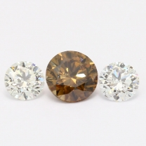 1.85 Total Carat Trio of White and GIA Certified Champagne Diamonds