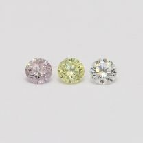 0.235 Total carat trio parcel of pink green and white diamonds