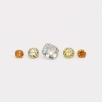 0.15 Total carat parcel of cushion and round cut green and orange diamonds