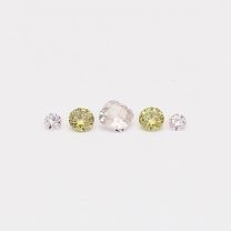 0.11 Total carat parcel of cushion and round cut green and Argyle pink diamonds