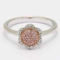 Rosetta White and Argyle Pink Diamond Floral Cluster Halo Ring in Rose  White Gold