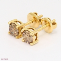 1.00 Carat Argyle Champagne Diamond Stud Earrings in Yellow Gold