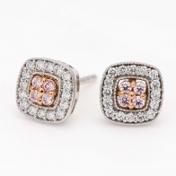 Sabriel Argyle Pink and White Diamond Square Halo Stud Earrings in Rose  White Gold