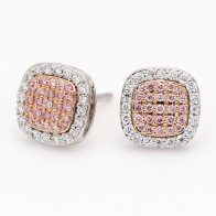 Cecilia White and Argyle Pink Diamond Square Cluster Halo Stud Earrings in Rose  White Gold