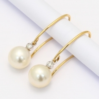 Lux white south sea pearl and white diamond earrings in Yellow  White Gold