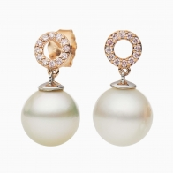 Mabel White South Sea Pearl and Pink Diamond Earrings in Rose  White Gold