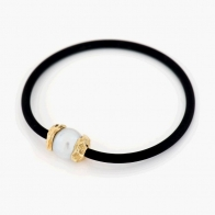 Agassi White South Sea Pearl Neoprene Necklace in Yellow Gold
