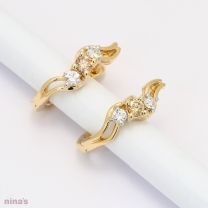Briella Champagne and White Diamond Huggie Earrings in Yellow Gold