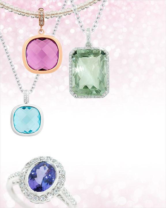 Gemstone rings, pendant, engagement rings